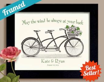 Irish Wedding Gift New Home Gift Irish Family Gift Best Wishes Irish Name Tandem Bike Personalized Wedding Irish Blessing Print Shamrocks