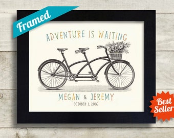 Personalized Wedding Gift for Couple Adventure Awaits Couples Gift Newly Engaged Gift Newlywed First Anniversary Gift Tandem Bike