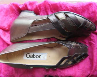 Amazing Vintage Shoes LADY GABOR Tricolor Bronze Classy Wedge Pumps Medium Heels Open Toe Size 7B/37