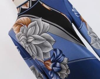 SALE:)) ART DECO Magnolia . Beautiful Border Print Maxi Dress High Quality Poly Jersey Fab Colors 70s S