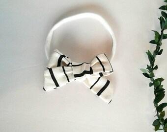 Black white striped girls hair bow clip girls vintage modern headband