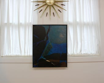 Mid Century Modern, vintage blue tones abstract painting decoupage