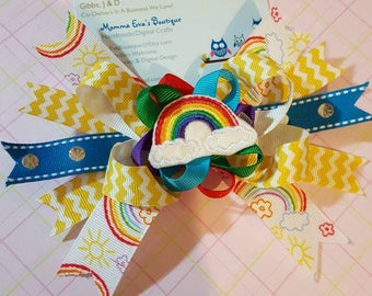 Momma Eva's -- Super Layered Boutique Rainbows Everywhere Hair Bow Design / 4.5 inch design / Ready to Ship / No Slip Grip Upon Request