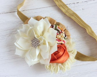 Autumn orange ivory gold baby headband girl headband newborn headband toddler headband flower headband matilda jane m2m flower infant newbor