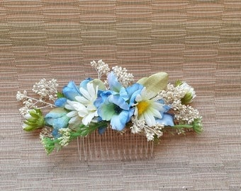 Floral Hair Comb Blue and White Flowers For Wedding or Prom