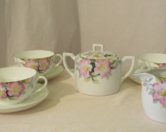 Noritake Tea Cups, Creamer and Sugar