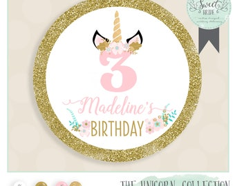 Unicorn Birthday Favor Sticker.  Unicorn party with name age and phrase of choice. Favor glossy round sticker in Muliple QTY size and colors