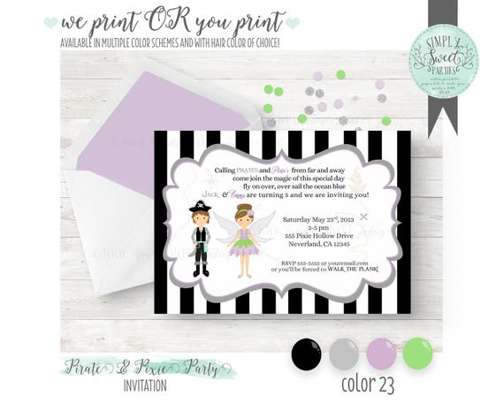 Pirates pixies birthday party invitation multiple color schemes il570xn stopboris Image collections