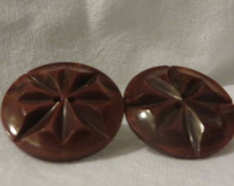 Vintage Bakelite Button Earrings