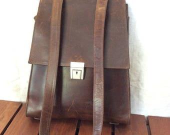 15% OFF3DAYSALE Vintage Genuine Village Tannery Designs by Sevestet New York Brown Leahter Backpack Shoulder bag