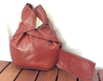 15%OFF VACATION SALE Vintage Genuine Texier Backpack Tan Leather Backpack Bag Made in France