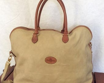 15%OFF VACATION SALE Great Authentic Vintage Terrida Beige/Cream Leather with Tan Leather Trim Satchel Carry On Travel Bag Made in Italy