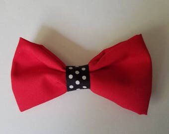 Hair bow- red and black polka dot pattern