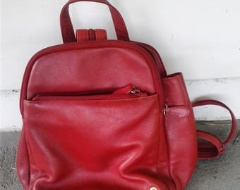 Red Leather Mini Backpack Purse