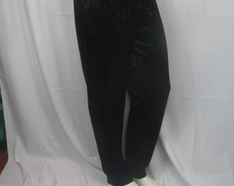 Vintage 90s Womens Black Velvet / Velour Pants