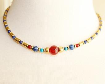 Vintage wrap bead necklace. Brass, lapis lazuli, turquoise and carnelian necklace. Torque necklace. Bead choler necklace