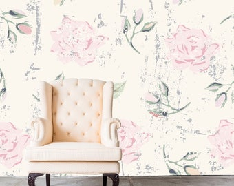 Removable Wallpaper- Blushed - Peel & Stick Self Adhesive Fabric Temporary Wallpaper-Repositionable-Reusable- GORGEOUS!