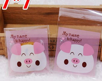 Small Plastic Bag Food packaging bags cute pig resealable bag (100) Party Snack Cookie Bag