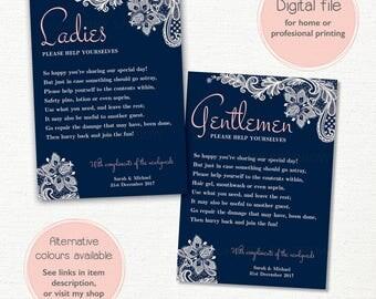 Wedding Bathroom Basket Sign 5x7 Hospitality Guests Blue Ivory Cream Lace