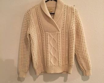 Cream Fisherman Sweater Pullover V Neck Cowl Ireland Scotland Knit Fair Isle
