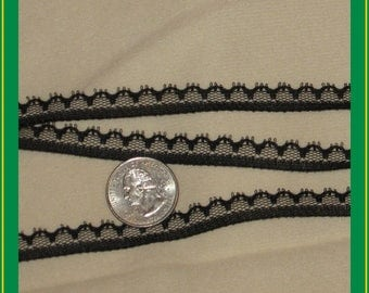 PRE-CUT 13 yards NEW extra-narrow flat lace trim - black, 3/8ths inches wide