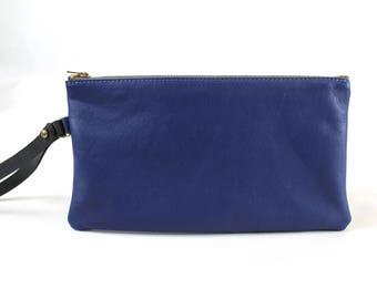 Melrose Make-up Bag in Royal Blue Leather