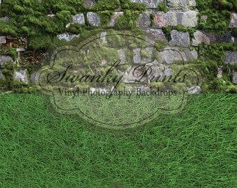 NEW Easter Two In One 8ft x 16ft Rock Wall with Moss and Grass / Vinyl Photography Backdrop