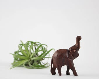Vintage Miniature Wooden Elephant Figurine Hand Carved Trunks Up for Good Luck