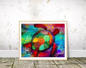 Original Art Print Colorful Sea Turtle