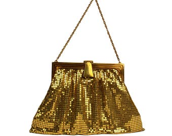 Vintage Whiting and Davis Gold Metal Mesh Purse //Mid-Century Hollywood Glamour Evening Handbag