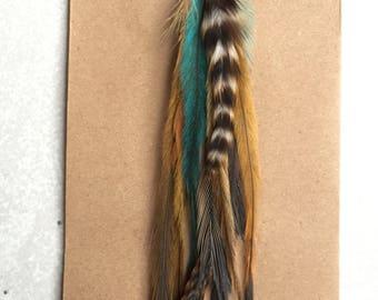 Long Feather Earring, Single Feather Earring, Long Boho Earrings, Hair Feather Extension, Bohemian Earrings, Boho Gypsy Jewelry Accessories