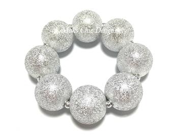 Toddler or Girls Silver Chunky bracelet - Valentines Day Silver Bracelet - Girls Grey chunky Bracelet - Winter bracelet - Sparkle Bracelet