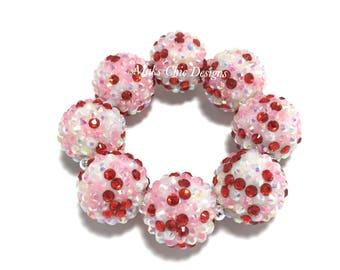 Toddler, Girls, Teen, Ladies All Bling Chunky Bracelet - Red, Pink, White Confetti Chunky bracelet - Valentine's Day Sparkle bracelet