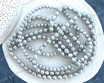 3 Strands Sale Beads, Destash Beads, 5 to 7mm Light Gray Grey Fresh Water Pearl Beads, Rice Button Potato Fresh Water Pearls DS-912