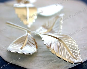 Bright Silver Leaves 44 x 48mm Leaves Vintage Style Supplies Craft Supplies Jewelry Supplies Made in USA Wedding Supplies  STA-350