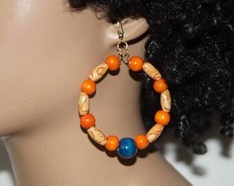 Tribal Inspired Beaded Hoop Earrings