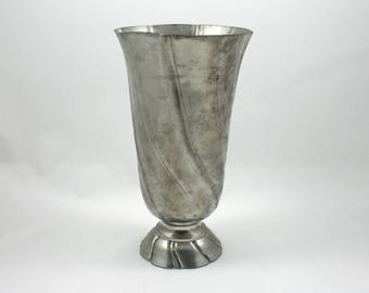 "Vintage 1990s pewter vase, flower petal swirl, Kirk Stieff holloware, Smithsonian Institution, 8"" footed vase, silver color, flower bouquet"