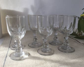 6 glasses French Vintage, for wine or Porto, 19th glasses, Handmade, mouth blowned