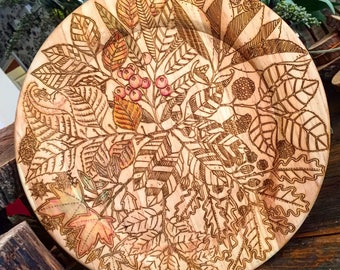 Thanksgiving fall wood plate, platter, kitchen decor, engraved wood plate, custom, unfinished, diy, supplies, fall decor, party,