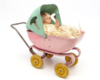 1930's Vintage Wyandotte Toy Pressed Steel Doll Baby Buggy, Antique Play Carriage, Wooden Wheels, Pink and Green