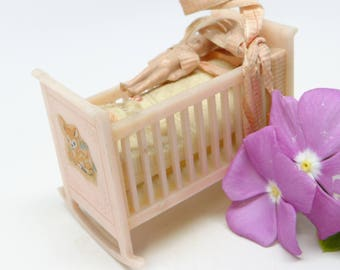 Vintage Kenwal Rocking Doll Cradle with Baby, Antique Bed for Dolls,