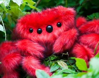 Angry Arabella -Red Spider Plush - Limited Edition -  Soft Sculpture, Fiber Art, Art Toy, Plush, Halloween