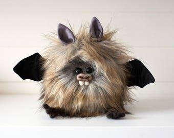 WILLOW - Snow Bat, OOAK Bat Soft Sculpture, Fibre Art, Plush, Halloween