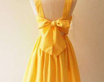 Fairy Wing Yellow Vintage Sundress Back Bow Backless Dress Polka Dot Dress Summer Dress Bridesmaid Dress Retro Rockabilly Dress