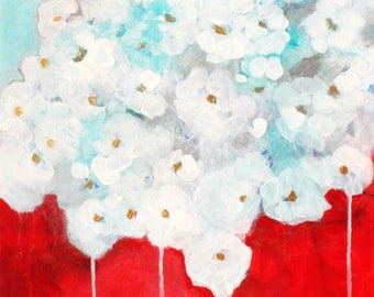 "Abstract Floral Painting, Original Loose Flowers, Light Soft, ""Tumbling White Roses""  16x20"