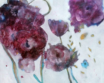 """Loose Abstract Floral Painting on Large Canvas, Colorful, """"Fall Roses"""" 24x24"""""""