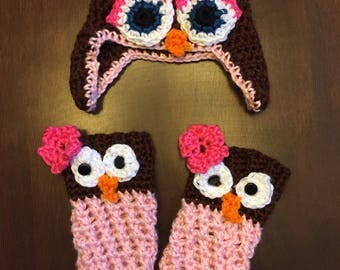 Owl Hat and Leg Warmers Set