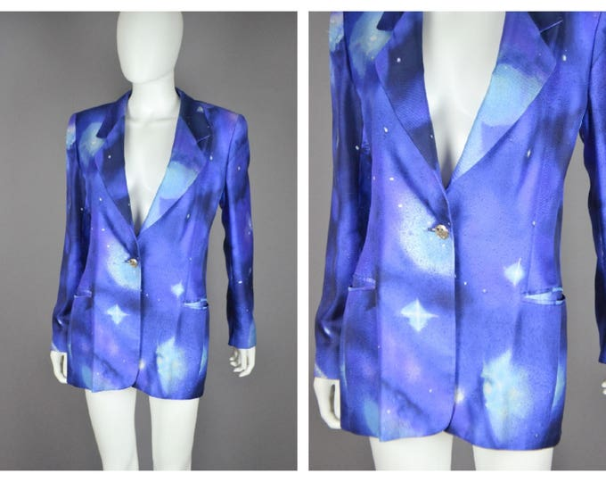 Vintage 90s 1990s Cosmic  SPACE Galaxy Novelty Star Print ESCADA Silk Blazer Jacket M 38 Bust