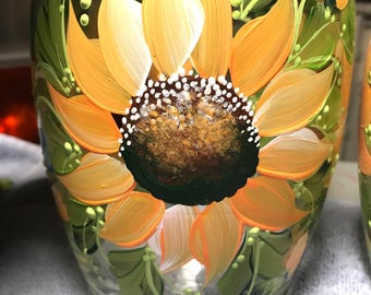 Hand painted sunflower vase personalizable