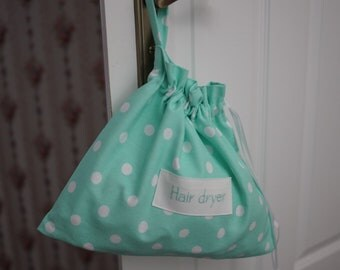 Hair dryer bag, hair dryer holder, thick cotton, white dots, mint fabric